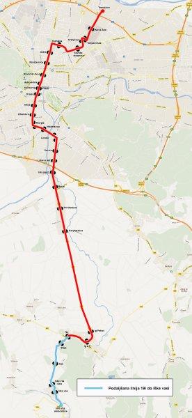 Skica podaljšane trase linije 19I do Iške vasi