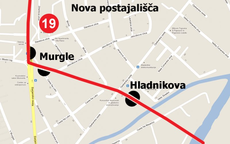 Nova postajališča na liniji 19