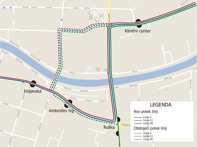 Skica spremenjenih tras linij mestnega potniškega prometa številka 2, 11 in 20.